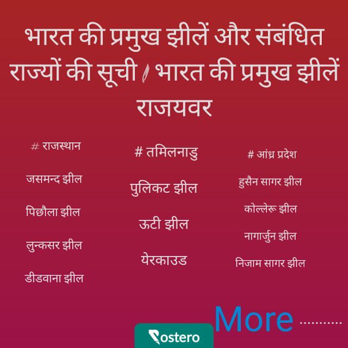 भारत की प्रमुख झीलें और संबंधित राज्यों की सूची / भारत की प्रमुख झीलें राजयवर