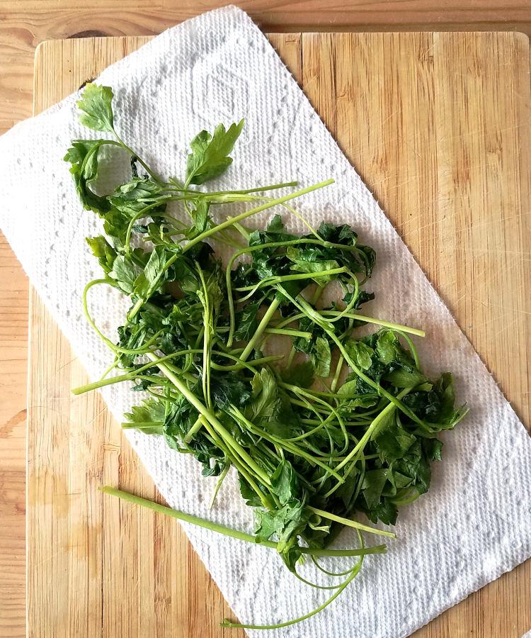 Recuperar perejil marchito: secar las hojas con papel