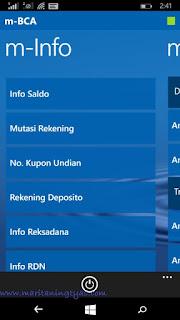 Fitur m-Info pada BCA Mobile