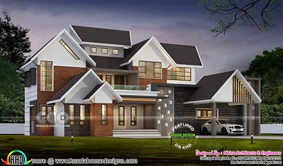 Cute 5 BHK house architecture in 3600 sq-ft