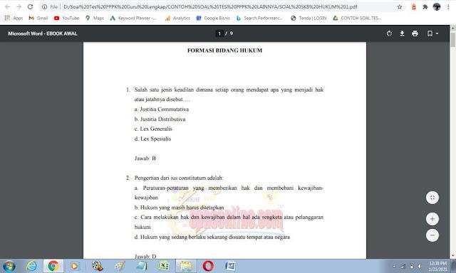Contoh soal tes P3K Bidang Hukum dan Kunci Jawaban