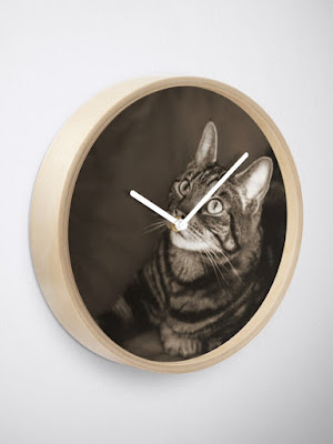 clock with tabby cat photo printed on face