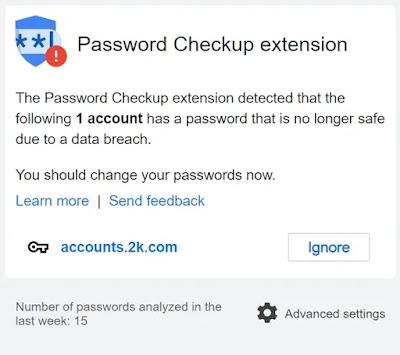 Memeriksa Keamanan Password dengan Google Password Checkup