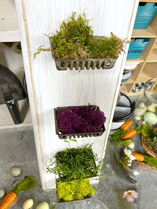 Repurposed cutting board soap baskets with colored moss