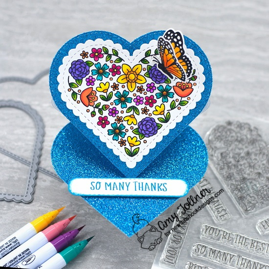 So many thanks by Amy features Heart Frames, Heartfelt Blooms, Banner Trio, and Monarchs by Newton's Nook Designs; #newtonsnook, #inkypaws, #cardmaking, #thankyoucards
