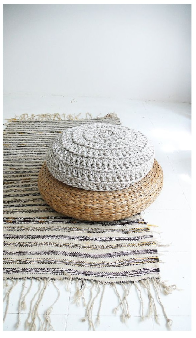 Knitted Pouf and Ottoman floor chusion from bean bag sofa coffe table ideas from crochet pouf minimalist