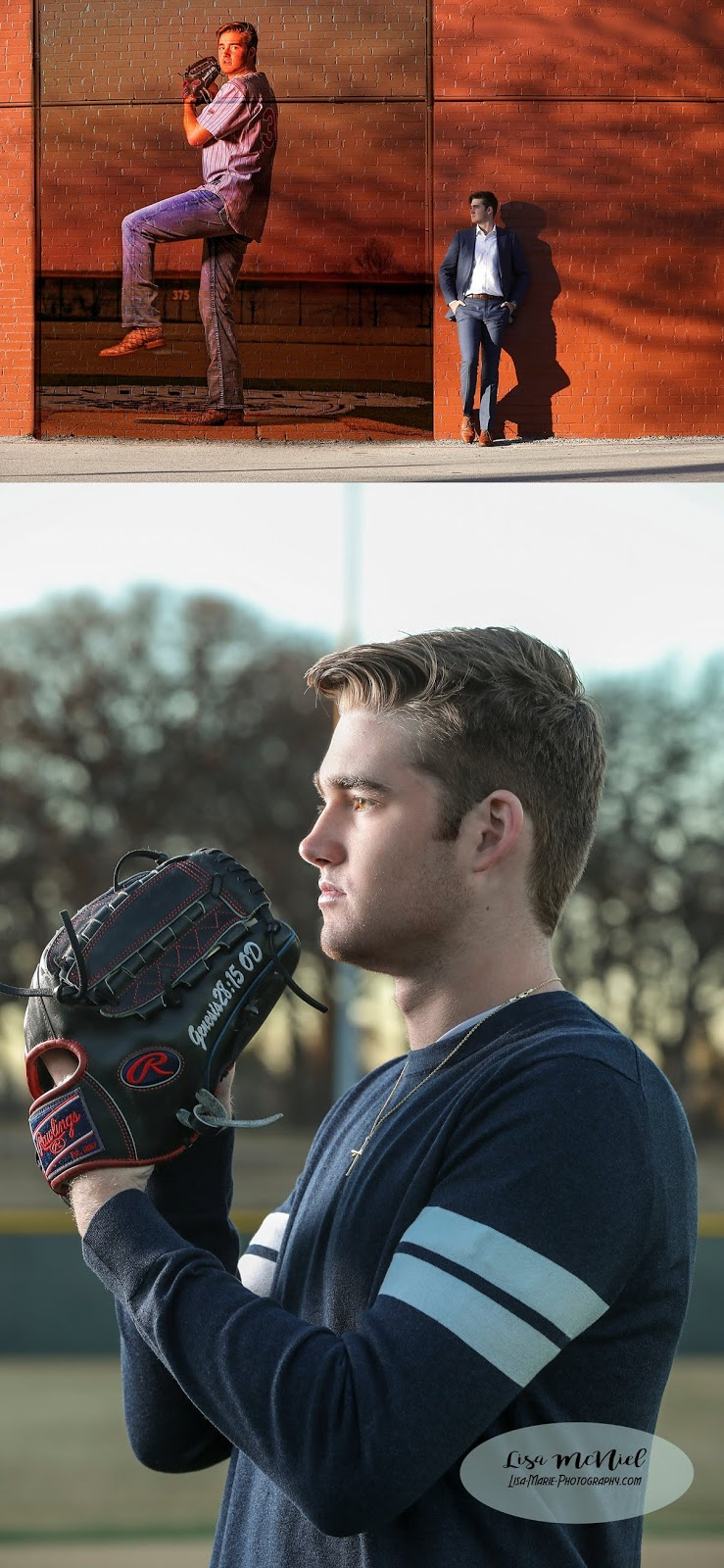handsome young man by brick wall with him pitching baseball superimposed