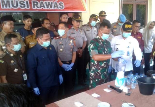 650 gram Sabu dan 270 Batang Ganja Dimusnahkan Polres Musi Rawas