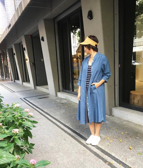 口袋裡的夏天舒棉開襟莫蘭迪藍七分袖洋裝老幫手實穿