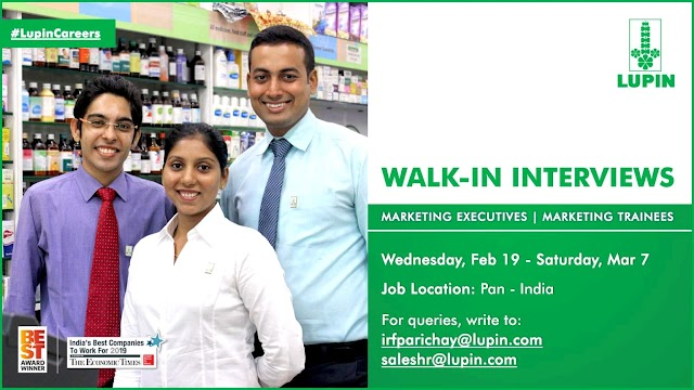 Lupin | Walk-in for Marketing executives on 19 Feb to 7 March 2020 | All over India