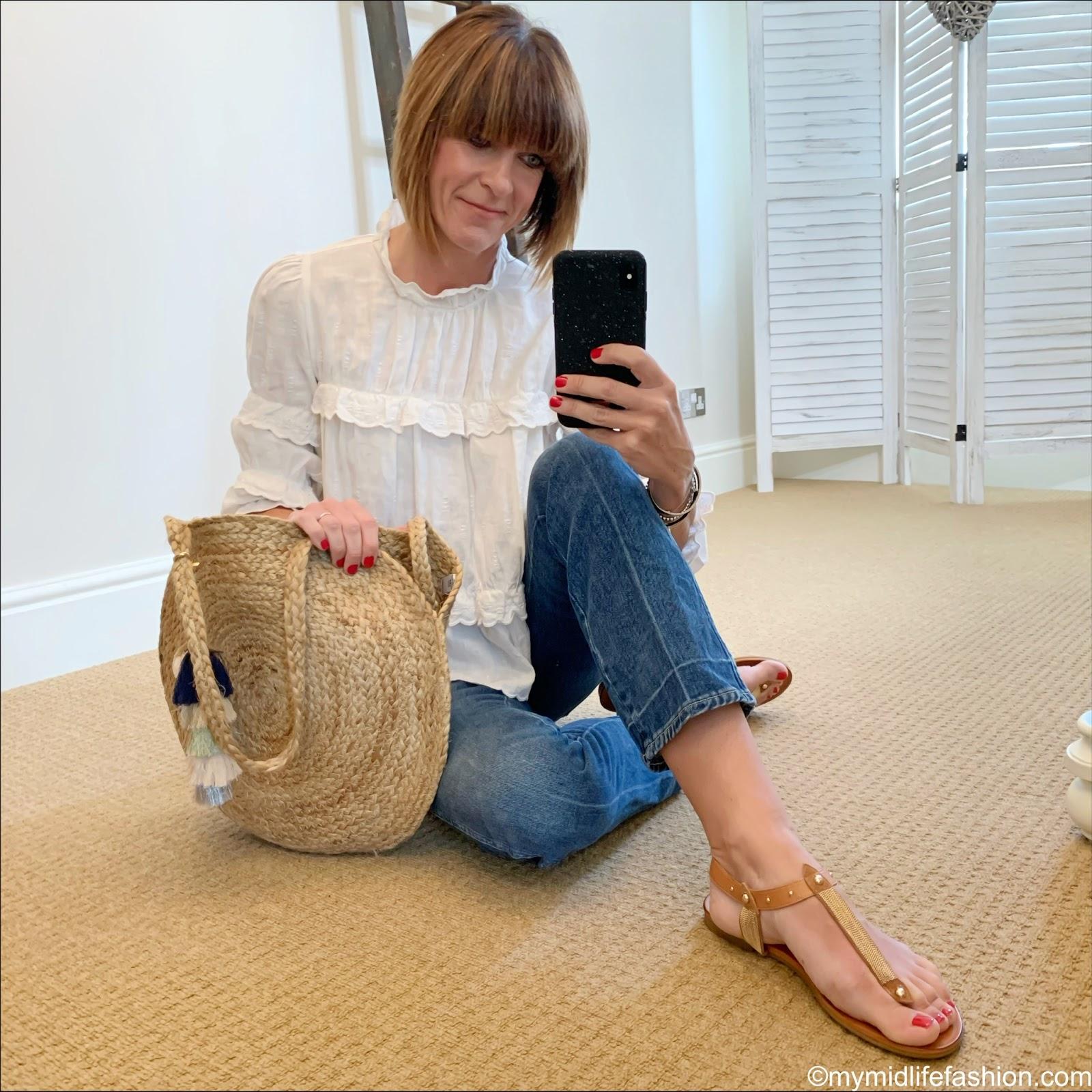 my midlife fashion, Isabel Marant Etoile Daniela blouse, j crew cropped kick flare jeans, Ashiana Santorini round beach bag, carvela koncert sandals