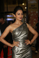 Rakul Preet Singh in Shining Glittering Golden Half Shoulder Gown at 64th Jio Filmfare Awards South ~  Exclusive 029.JPG
