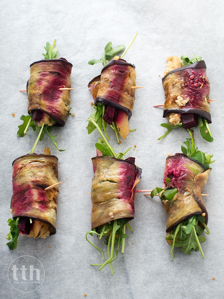Roladki z bakłazana z gruszką, burakami i komosą ryzowa - przepis weganski, bezglutenowy