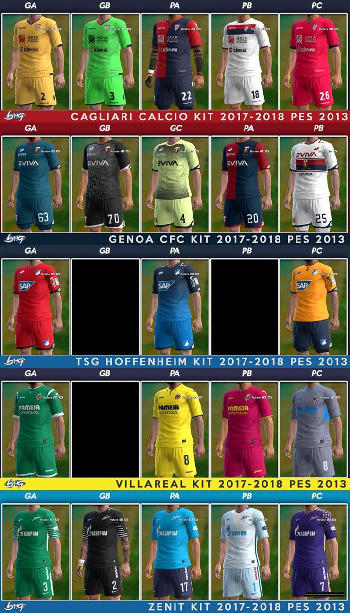 PES 2013 Update Kits 31.07.2017 Season 2017/18 by BMG Kitmaker