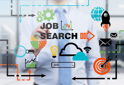 photo of man in tie with gadgets and text in black saying job search