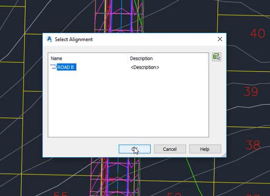 Selecting an alignment in Autodesk Civil 3D