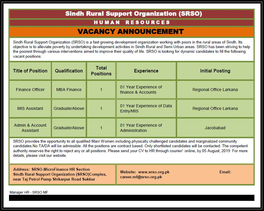 Sindh Rural Support Organization (SARSO) Sukkur Jobs 2019