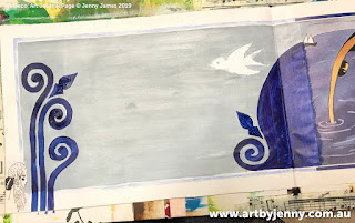 Acrylic painting by Jenny James of pelicans for an Art Deco themed journal page