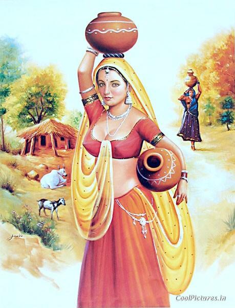 Indian Art Painting: A Beautiful Rajasthani Women
