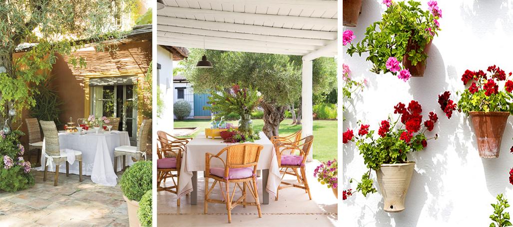 decoración patio andaluz con flores y plantas llamativas en el porche