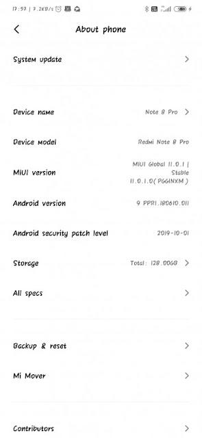 Redmi Note 8 Pro miui 11