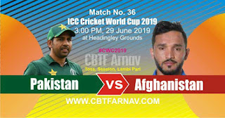 36th Match Afghanistan vs Pakistan World Cup 2019 Today Match Prediction