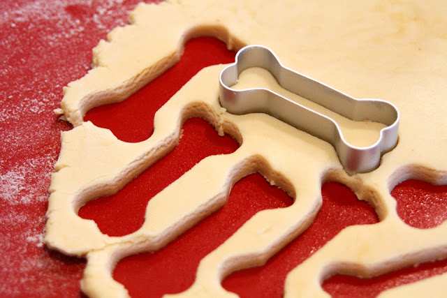 Cutting out homemade dog treats from dough with a bone shaped cookie cutter