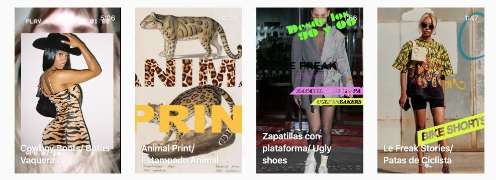 Temas abordados por las cápsulas de tendencias de moda de Le Freak es chic como las botas vaqueras, animal print, zapatillas con plataforma y calzas de ciclista