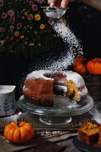 balkabaklı kakaolu iki renkli kek