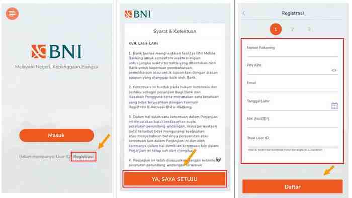 langkah pertama daftar akun BNI Mobile