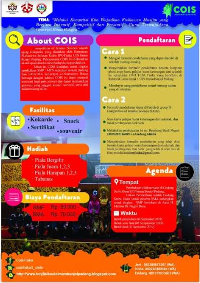 Lomba Sains Islami (COIS) Terbaru 2019 Untuk SMP & SMA Sederajat Se-Sumbar