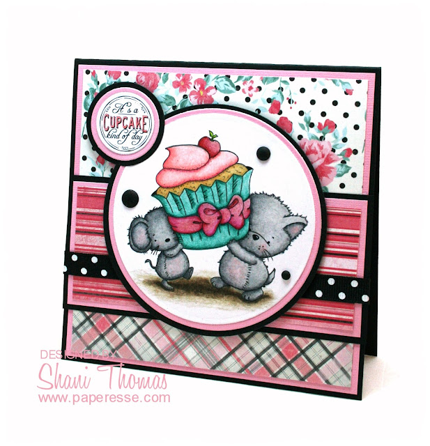 Cupcake birthday card featuring Di's Digi Stamps Cupcake Treat freebie, by Paperesse.