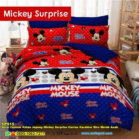 Sprei Custom Katun Jepang Mickey Surprise Kartun Karakter Biru Merah Anak