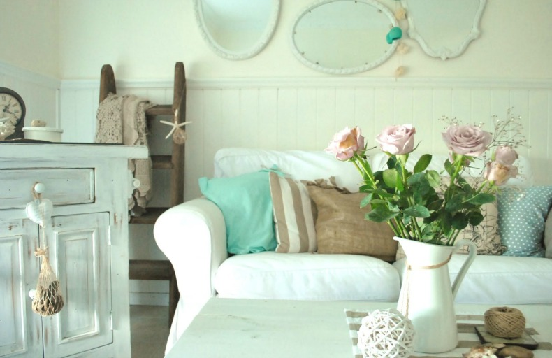 White slipcover sofa, shabby chic coastal room with pastel accents