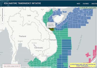 Bản đồ phân vùng các lô dầu khí của Việt Nam trong đó bao gồm lô 114