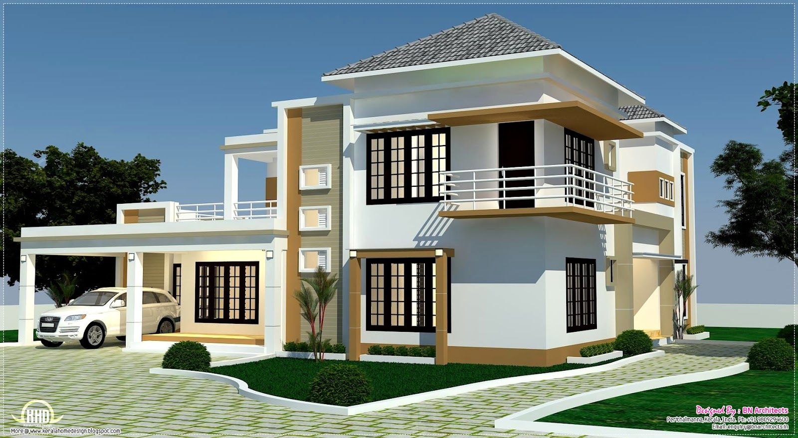 Floor plan 3d views and interiors of 4 bedroom villa for Four bhk bungalow plan
