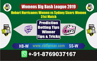 Womens Big Bash League 2019 Sixers vs Hobart 31st WBBL 2019 Match Prediction Today Reports