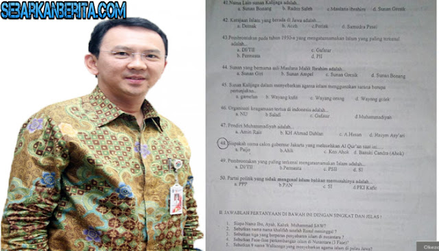 Nama Ahok dan Partai Kafir Masuk Soal Ujian Akhir Semester di Purbalingga