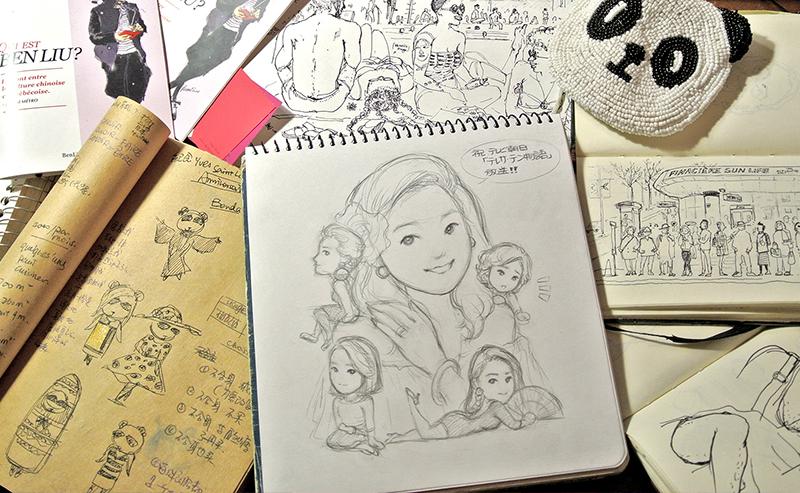 Fashion illustration by Ben Liu, Benda panda, Montreal artist atelier studio, Teresa Teng, Denglijun portrait, drawing