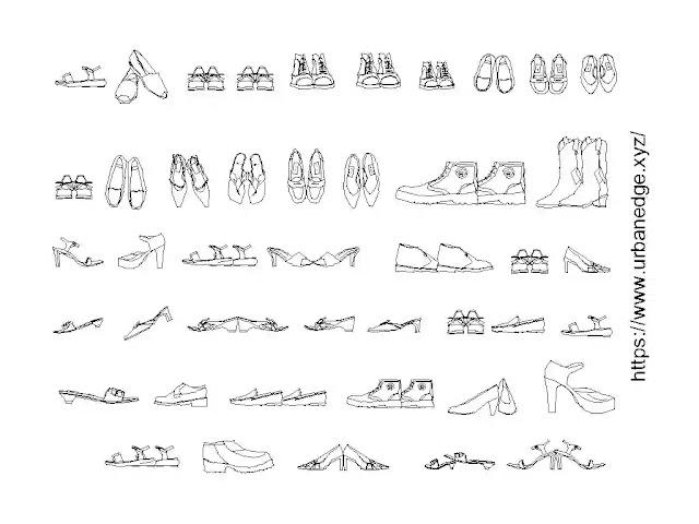 shoes, sandals and chappals cad blocks download, 40+ shoes cad block