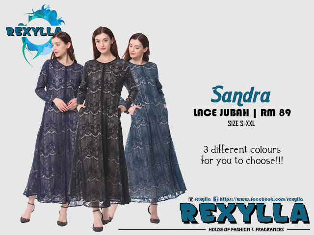 rexylla, lace jubah, sandra collection