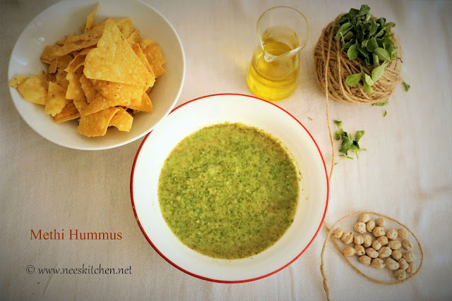 Methi Hummus | Fenugreek Leaves Hummus