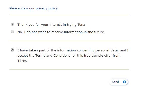 طريقة الحصول على عينات مجانية من TENA مجانا الى باب منزلك