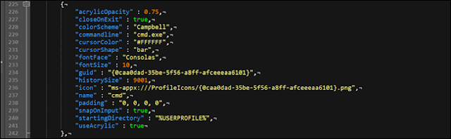 خيار نظام الألوان الطرفية لـ Windows لـ cmd.exe.