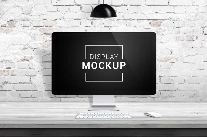Wooden Desk With Display Mockup