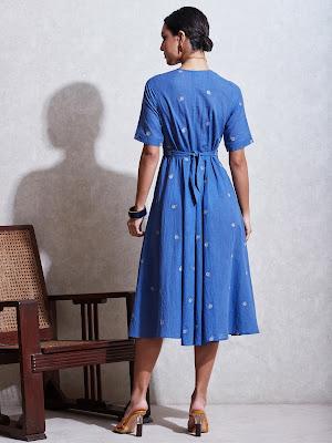 Ritu Kumar Blue cotton kurta Dresses with floral-motif Back side