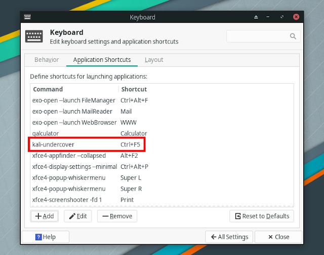 Kali Undercover keyboard shortcut
