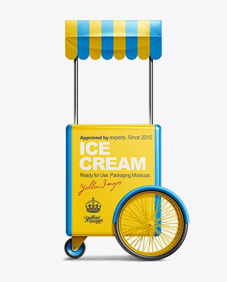 Ice Cream Cart with Umbrella Mockup