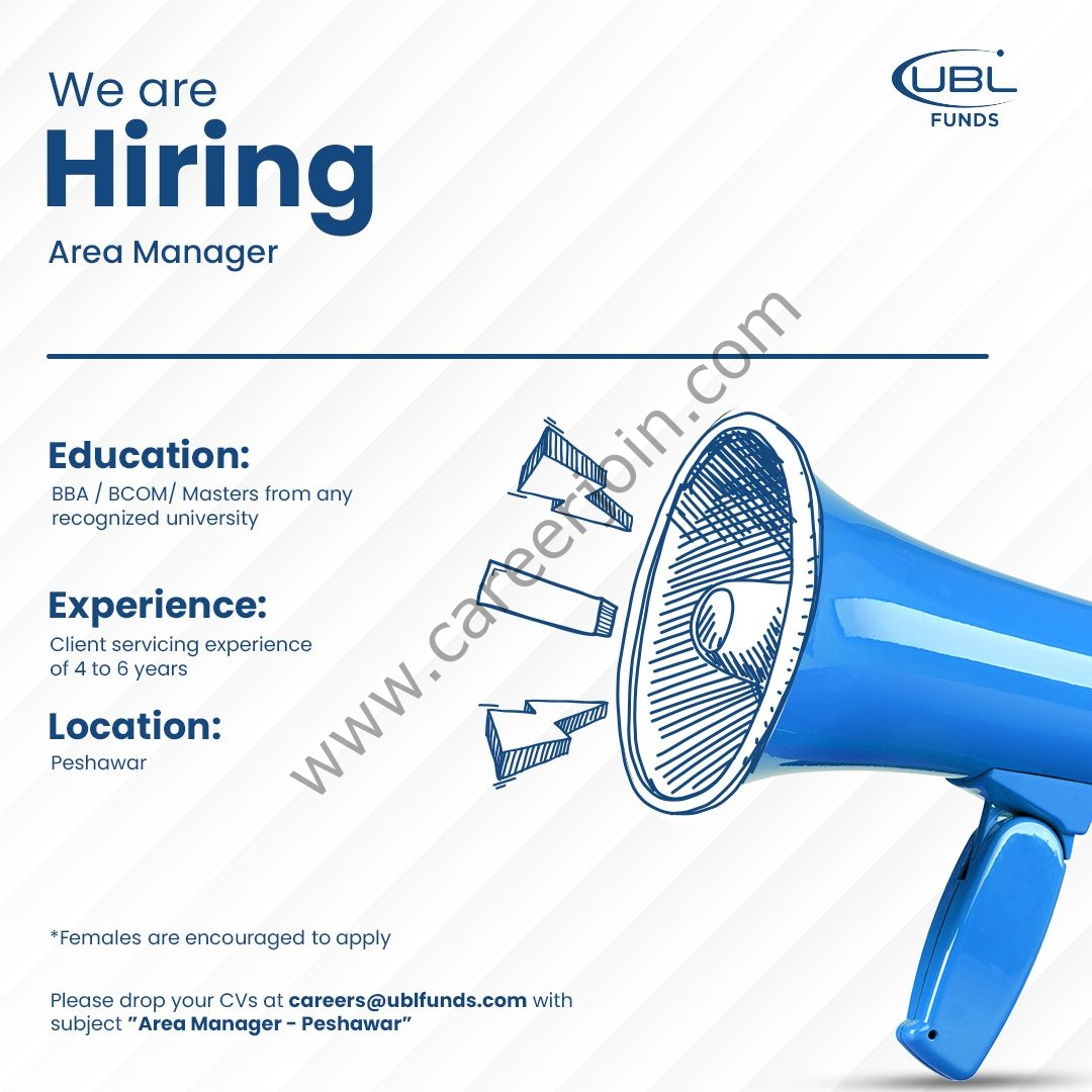 UBL Funds Manager Jobs Area Manager