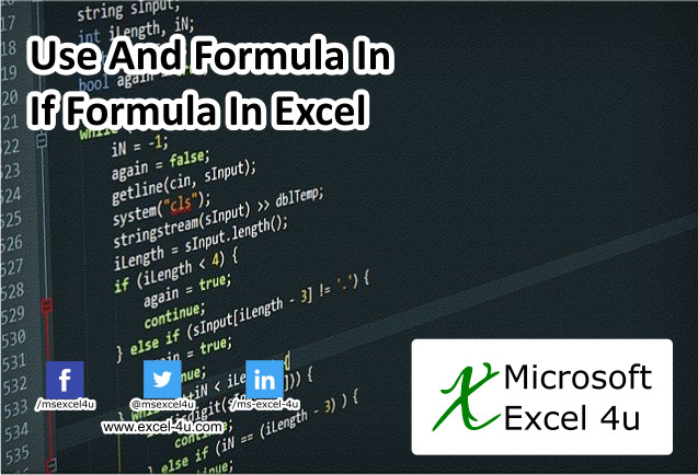 Use And Formula In If Formula In Excel